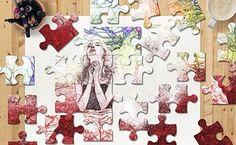 Puzzle, Schiță, Colorate, Femeie, Birou