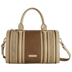 Burberry Medium Metallic and Suede Detail Leather Bowling Bag ($1,495) ❤ liked on Polyvore