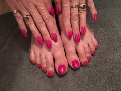 Pink gel manicure and pedicure