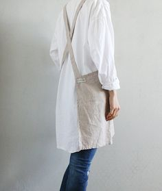 Criss-Cross Short Apron/ Pure Linen No-ties Apron by lifeinaday