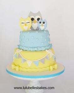 Owl Baby Shower Cake - Cake by Lulubelle's Bakes