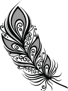 Dibujos Zentangle Art, Zentangle Drawings, Art Drawings Sketches, Feather Drawing, Feather Art, Feather Design, Boho Tattoos, Feather Tattoos, Mandala Feather
