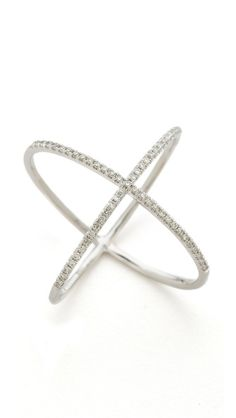 EF Collection Pave Gold Diamond X Ring. www.topshelfclothes.com