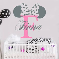 Girls Name Wall Decal - Mickey Mouse Decal - Monogram Letter - Custom Name - Minnie Mouse Ears - Nursery Decor - Crib Decal Disney Themed Nursery, Baby Girl Nursery Themes, Baby Room Decor, Nursery Decor, Nursery Room, Minnie Mouse Baby Room, Minnie Mouse Wall Decals, Mickey Mouse Decorations, Name Wall Decals