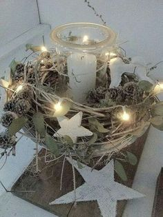table decoration with candle light & stars
