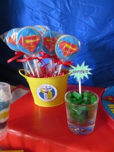 Cool treats at a Superman Birthday Party!  See more party ideas at CatchMyParty.com!