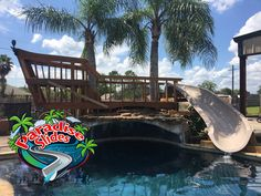 Here is a Paradise Slides, inc. #PoolSlide model PS17R-S in CLAY turned Pirate Ship! Ahoy, Me Hearties! This one is being thoroughly enjoyed in Texas. #ResidentialWaterSlide #WhatsInYourBackyard Water Slides, Pool Slides, Can Design, Swimming Pools, Paradise, Texas, Clay, Backyard, Ship