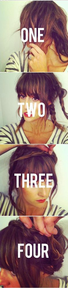 Braided crown. Easiest with short hair like this. BUT REALLY DIFFICULT WITH LONG HAIR... GAH. so upsetting.