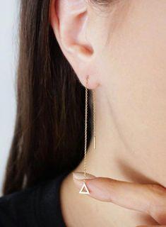 Black Tourmaline Earrings Sterling Silver Threader Prism Gemstone Earrings Tourmaline Threaders Minimalist Ear Threaders.