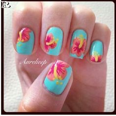 Hawaiian Flower Nail Art Designs women square measure very cautious regarding however they giv Hawaiian Nail Art, Hawaiian Flower Nails, Tropical Nail Art, Hibiscus Nail Art, Tropical Flower Nails, Hibiscus Flowers, Fancy Nails, Trendy Nails, Cute Nails