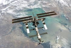 International Space Station over the Caspian Sea, taken by STS-114 on August 6, 2005