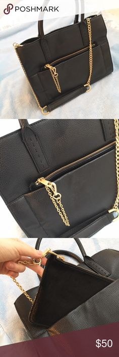 Ann Taylor large Black Leather Handbag In pristine condition. Only used once for an interview. Ann Taylor Bags