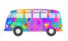Magic Bus Clip Art, Royalty Free, No Credit Required, like vw volkswagen van. $1.50, via Etsy.