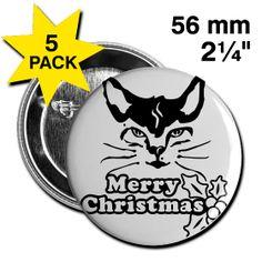 Button 56mm, Weihnachtsbutton,mit schwarzer Katze. schwarz,weiß. 56mm Button, Button Christmas, with black cat. black, white.