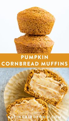 These pumpkin cornbread muffins are slightly sweet and moist from the pumpkin! They're the perfect side to a big bowl of cozy soup or chili. Dairy-free, egg-free, refined sugar free and made with whole grains. Gourmet Recipes, Baking Recipes, Dessert Recipes, Healthy Recipes, Recipes Dinner, Brunch Recipes, Bread Recipes, Dinner Ideas, Vegetarian Recipes