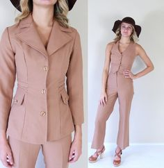 vintage 70s CAMEL fitted 3 PIECE SUIT xs set by TigerlilyFrocks