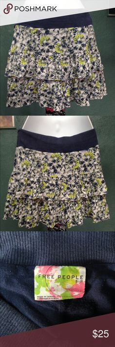 Free People Floral Skirt Free People Blue Floral Skirt. Size Small. Skirt is preloved but still in great condition! Skirt is very cute and flirty! Free People Skirts Mini