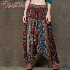 Jiqiuguer Projeto Original Cintura Elástica Harem Pants Calças de Linho de Algodão Mulheres Impressão Longo Indiano Bloomers Calças Largas G151K001