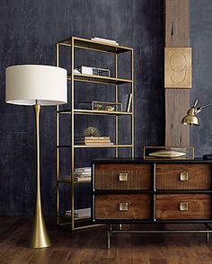 A return to golden glamour - gold interiors room design home design Modern House Design, Home Design, Home Interior Design, Interior Decorating, Large Bookcase, Bookcase Shelves, Black Bookcase, Gold Shelves, Shelf