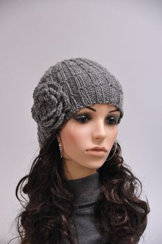 Hand knit hat - charcoal beanie with crochet flower 72db51819f5c