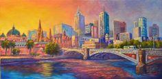 Oil on canvas, Melbourne a city of colour