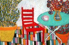 Pretty color simple style 1/18 - Tea on the terrace - Oil on linen - 130cm x 180cm