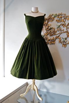50s Dress // 1950s Party Dress // Vintage 1950s Couture Olive Green Velveteen Party Dress Size M.  , via Etsy.