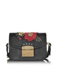 a3f6d720930e Furla Onyx Embroidered Satin Metropolis Floral Mini Crossbody Bag Mini  Crossbody Bag
