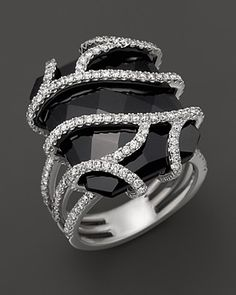 Diamond and Black Onyx Ring in 14K White Gold, 1.20 ct. tw | Bloomingdale's