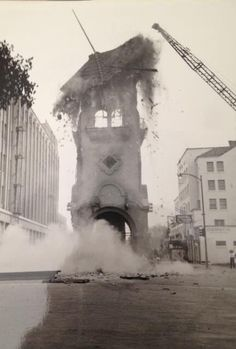 The Bakersfield Clock Tower on 17th and Chester Ave being demolished after the largest 7.3 Earthquake