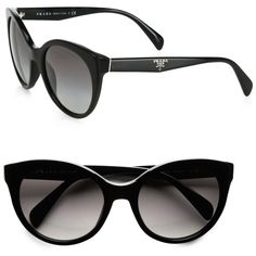 Prada Oversized Cat's-Eye Sunglasses (4,150 MXN) ❤ liked on Polyvore featuring accessories, eyewear, sunglasses, glasses, oculos, black, cat eye glasses, acetate sunglasses, uv protection sunglasses and oversized cat eye sunglasses
