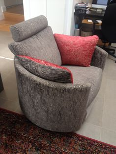 A very stylish use of Osborne & Little fabric - bark velvet F6551/06 cacao / F6551 / 05 red on our designer electrical chair
