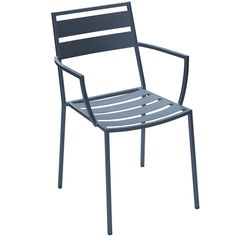 BFM Seating Alexa Steel Outdoor Restaurant Arm Chair - These durable and attractive BFM Seating outdoor restaurant chairs are constructed with a anthracite finished steel frame and contoured steel slatted back and seat. Matching anthracite finished metal restaurant chair arms provide a cohesive look to suit your restaurant's style. These stylish restaurant chairs also feature a stackable design and a streamlined, contemporary look meeting your restaurant patio furniture needs.  [DV280A]