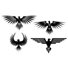 XOO Plate :: 4 Eagle Symbol Tattoo Style Vector Graphics - 4 Eagle symbols with spread wings - tattoo style - in vector Ai and Eps. Thunderbird Tattoo, Eagle Tattoos, Symbol Tattoos, Body Art Tattoos, Tribal Eagle Tattoo, Tribal Sun, Chicano Tattoos, Wiccan Tattoos, Polynesian Tattoos