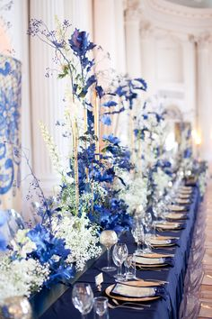 Navy Blue Wedding Reception in Rydzyna Castle, Poland by artsize.pl