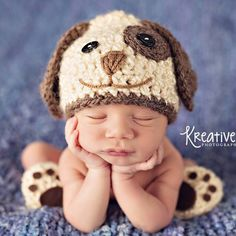 Baby Boy Hat PUPPY LUV Newborn Baby Boy Crochet Doggy Hat Cream Brown or Blue  Dog Hat Photography Prop Diaper Cover by CrochetMeSomethin on Etsy https://www.etsy.com/listing/245029389/baby-boy-hat-puppy-luv-newborn-baby-boy