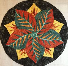 Poinsettia, Quiltworx.com, Made by Grace Kragness Table Topper Patterns, Table Toppers, Foundation Paper Piecing, Christmas Templates, Poinsettia, Textile Art, Quad, Fabric Design, Quilt Patterns