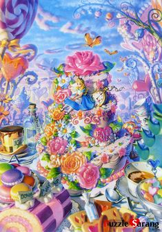 Very Lisa Frank-ish Arte Disney, Disney Art, Disney Pixar, Alice In Wonderland Cross Stitch, Disney Jigsaw Puzzles, Fantasy Magic, Chesire Cat, Alice Madness, Illustration