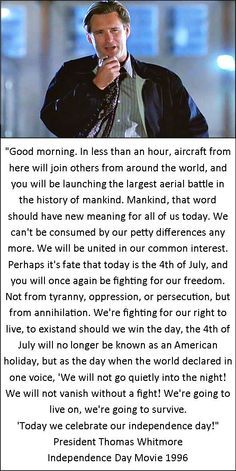 """INDEPENDENCE DAY Readying Speech """"Good (afternoon). In less than half an hour, a woman and a man from here will join others from around the world, and you will be launching the largest bridal party in the history of mankind. Mankind, that would should have a new meaning for all of us today. We can't be consumed by our petty differences any more. We will be united in our common love for -name and name-. Perhaps it is fate that it is Halloween, and you will once again be..."""