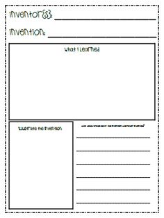 Worksheet for students to display their knowledge of famous inventors, their invention's, and the invention's impact on society. Student Teaching, Teaching Science, Social Science, Teaching Ideas, Physical Science, Teaching Materials, Teaching Tools, Invention Convention, First Grade Science