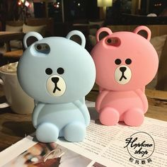 Warm 3D Cute Soft Silicon Pink&Blue Cartoon Brown Bear case for iPhone 5S/6SPlus #NGreen
