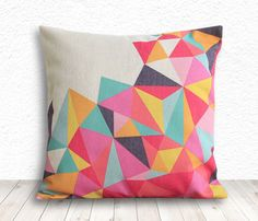 Geometric Pillow Cover, Pillow Cover, Pillow Cover Geometric, Linen Pillow Cover, 18x18 - Printed Geometric - 099 by 5CHomeDecor on Etsy