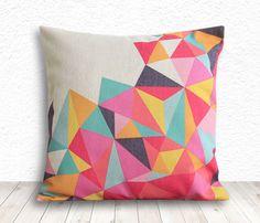 Geometric Pillow Cover, Pillow Cover, Pillow Cover Geometric, Linen Pillow Cover, 18x18 - Printed Geometric - 099 by 5CHomeDecor on Etsy