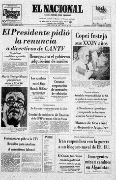 Aniversario XXXIV de Copei en la primera página del 12 de enero de 1980.