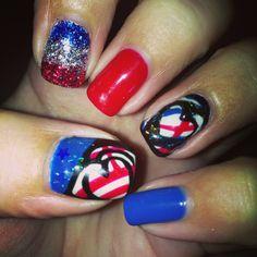 Patriotic nails #nails #fourthofjuly
