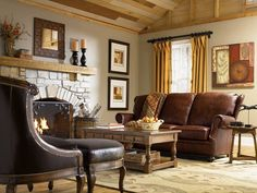 rustic living room with a fireplace and matching decorations
