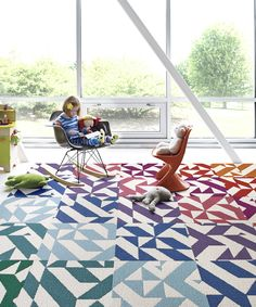 Twisted Spokes Geometric Rug Square Set | zulily