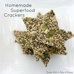 Chex mix: add 1 tablespoon butter, 1 tsp lowrys and 1 tsp onion powder. Coconut: replace some of pumpkin and sunflower seeds with unsweetened coconut, add 1 package stevia. Healthy Crackers, Low Carb Crackers, Homemade Crackers, Savory Snacks, Vegan Snacks, Healthy Snacks, Homemade Chips, Whole Food Recipes, Keto Recipes