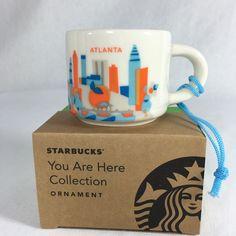 Starbucks 2015 Atlanta You Are Here Ceramic ORNAMENT 2 oz Mini Mug NEW YAH #Starbucks