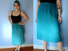 Vintage UnTeal Later Skirt // Semi-Sheer Teal Sheath Skirt with Matching Belt // 1940's Pinup Bombshell Pencil Midi Skirt // Women's Size M